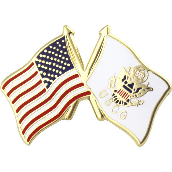 American and U.S. Coast Guard Crossed Flags 1