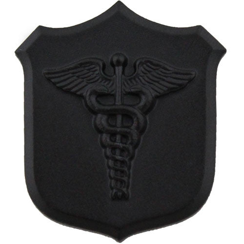 Navy and Marine Corps Medical Shield with Caduceus Collar Device - Black / Subdued