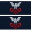 U.S. Navy E-6 - Petty Officer 1st Class (Embroidered Coverall Collar Device Rank) Scarlet Chevrons