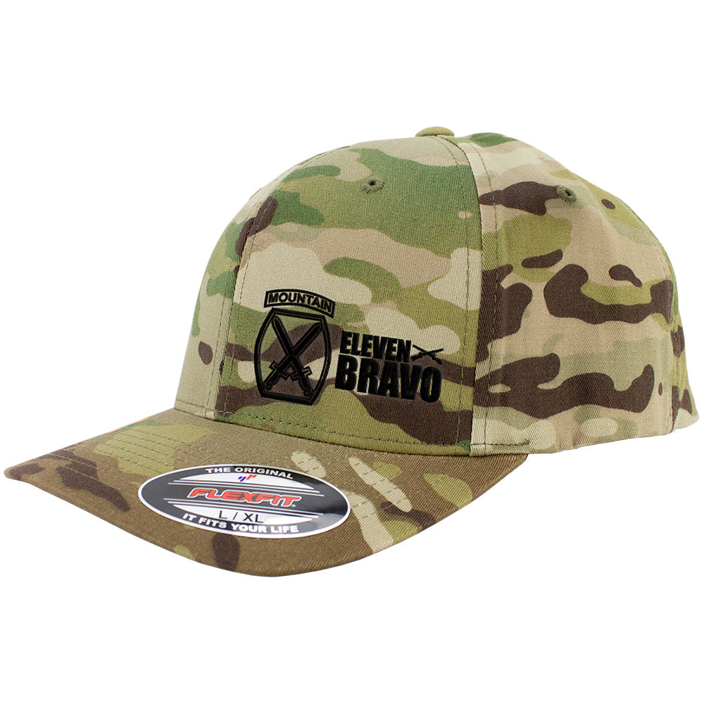 10th Mountain 11 Bravo Series FlexFit Caps Multicam