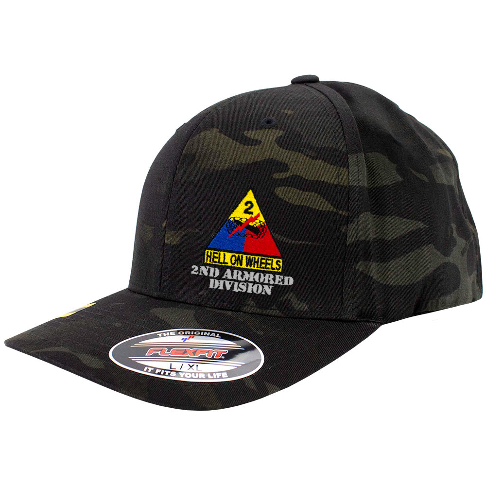 2nd Armored Division FlexFit Caps - Multicam