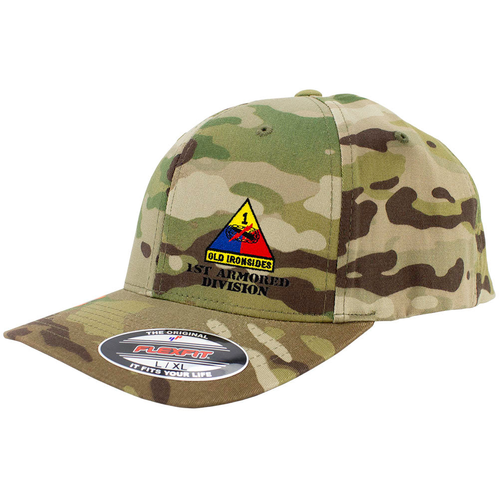 1st Armored Division FlexFit Caps - Multicam