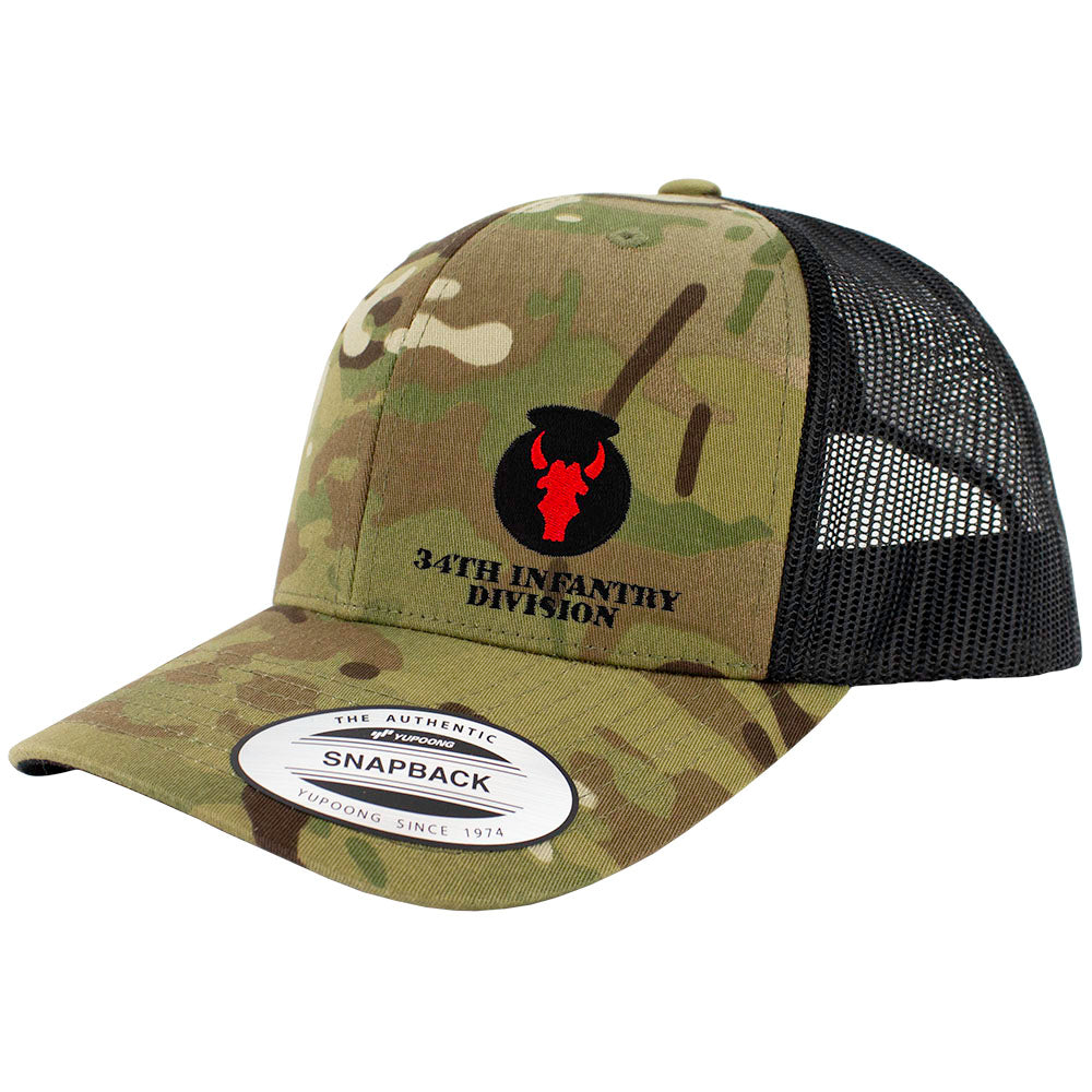 34th Infantry Division Snapback Trucker Cap - Multicam