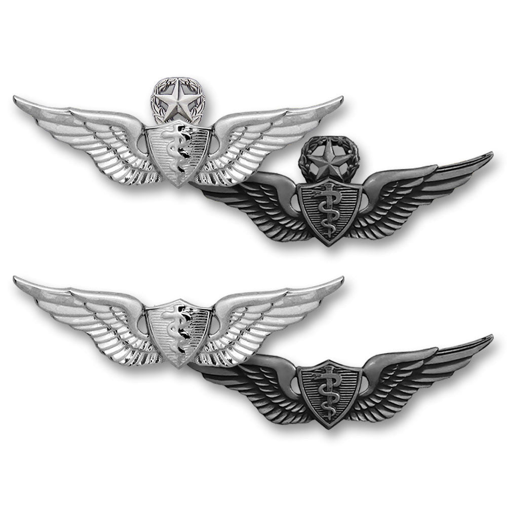 Army Miniature Senior Flight Surgeon Badge - Silver Oxidized