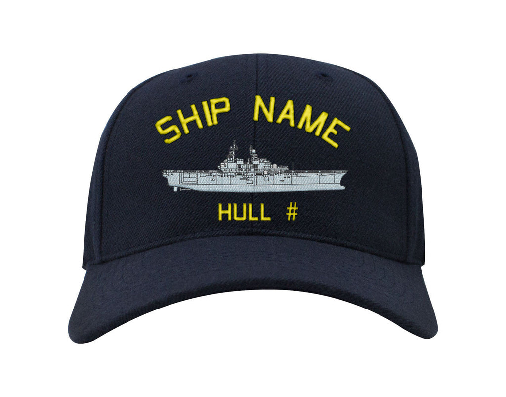 Navy Custom Ship Caps - Navy Blue