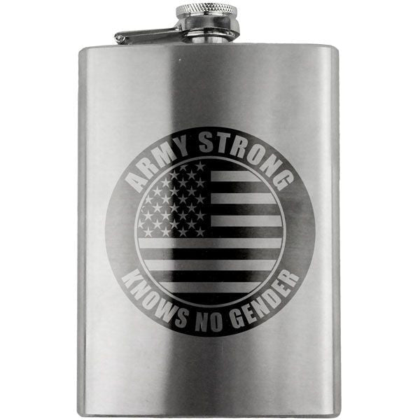 Army Strong Knows No Gender 8 oz. Flask