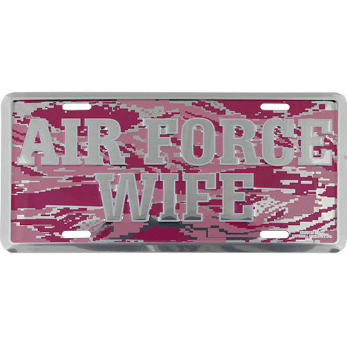 Air Force Wife Pink Camo License Plate