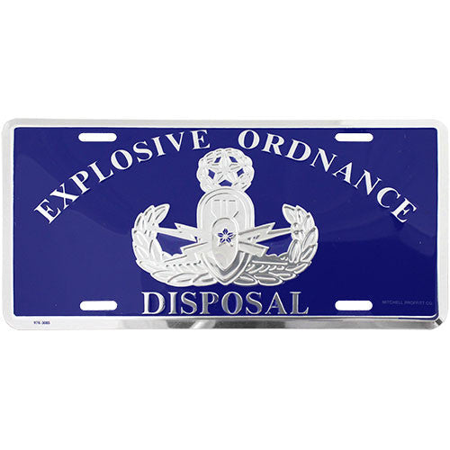 Explosive Ordnance Disposal Blue License Plate