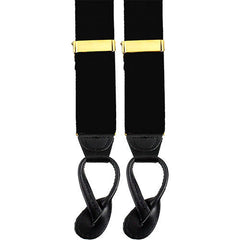 Dress Suspenders With Leather Ends - Black
