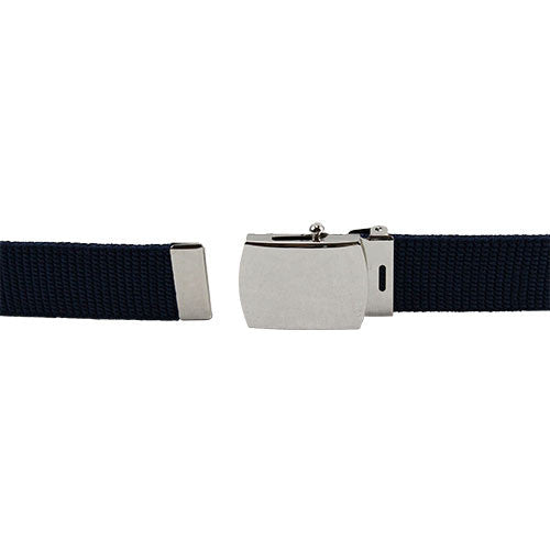 Air Force Dress Belts - Blue Cotton With Mirror Finish Buckle