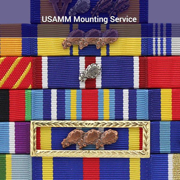Military ribbons rack with USAMM Mounting Service written over it