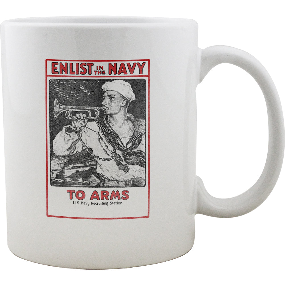 To Arms Enlisted in the Navy Vintage Style Mug