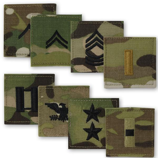 Army OCP 2 x 2 Sew-On Blouse Ranks - Officer & Enlisted