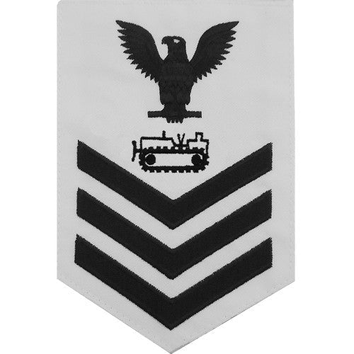 Navy E-4/5/6 Equipment Operator Rating Badge - White Poplin