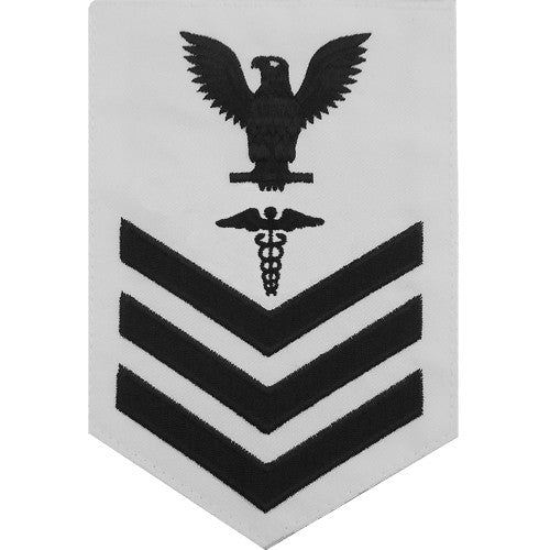 Navy E-4/5/6 Hospital Corpsman Rating Badge - White Poplin