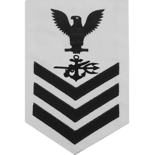 Navy E-4/5/6 Special Warfare Operator Rating Badge - White Poplin