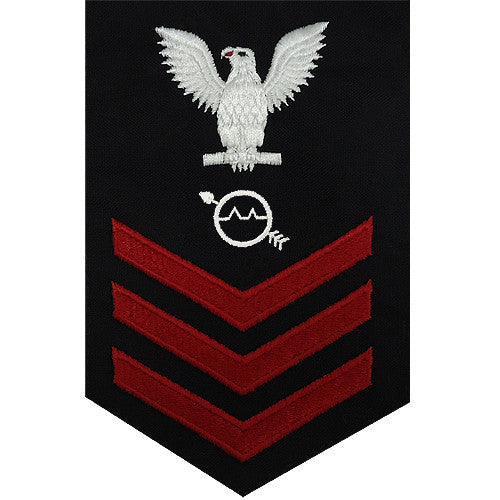 Navy E-4/5/6 Operations Specialist Rating Badge - Blue Poly-Wool