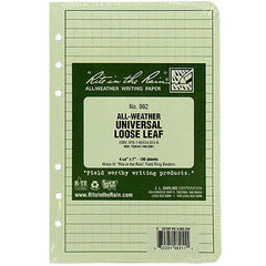 Rite in the Rain All-Weather Tactical Green Universal Loose Leaf Binder Sheets - 100 Sheet Pack