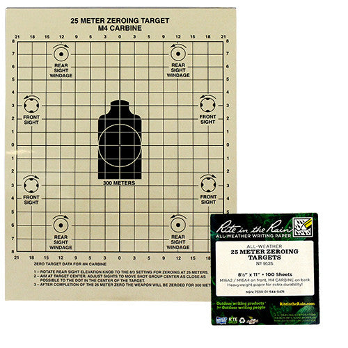 Rite in the Rain All-Weather 25-Meter Zeroing Target Sheets - 100 Sheet Pack
