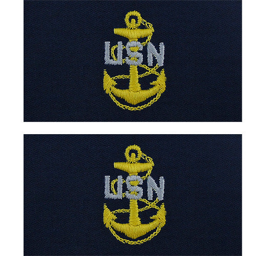 821ecd1cf8f Navy Embroidered Coverall Collar Insignia Rank