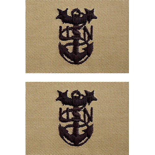 Navy Embroidered Desert Sand Collar Insignia Rank Usamm