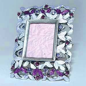 "Filigree Lavender Purple Swarovski Crystals ?"" Miniature Picture Frame for .75 inch photo"