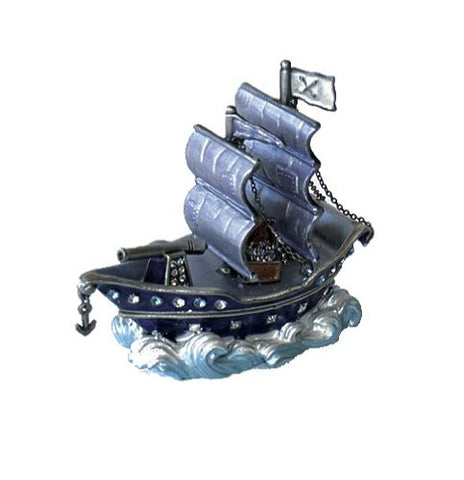 Pirate Ship Box Swarovski Crystals Boat Figurine Jewelry, Trinket or Pill Box Purple Clipper Flag