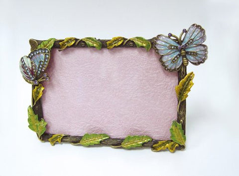 Vintage Style Purple Swarovski Crystals Butterflies Photo Frame for a 4 x 6 inch picture, 3D