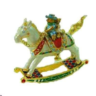 3D Swarovski Crystals Rocking Horse Box Baby Brother and Sister Teddy Bears Collectible, Limited Edition, Figurine