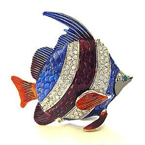 Blue Fish Box Swarovski Crystals Jewelry Box, Trinket or Pill Box Angel Reef Fish Figurine