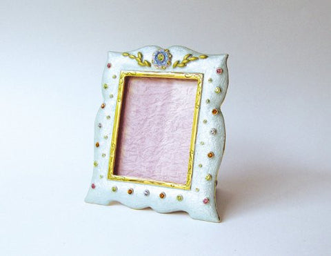 Baby Blue Pink Green Swarovski Crystals Picture Frame for a 2 x 2 inch Photo ...