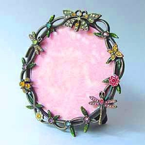 Pewter Blue Pink Amber Swarovski Crystal Dragonfly Round Picture Frame for 3 inch Photo