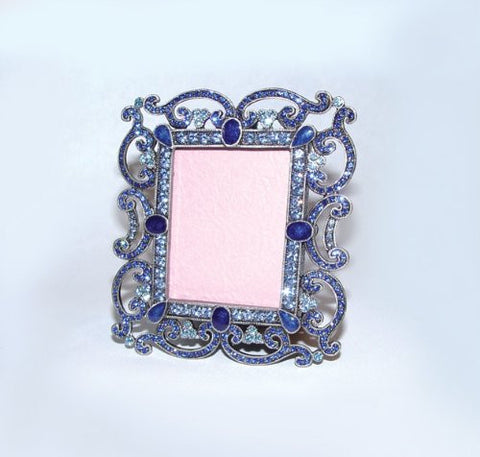 "Ornate Scrolls, Celtic Large Blue Swarovski Crystals French Picture Frame for 2"" Photo"