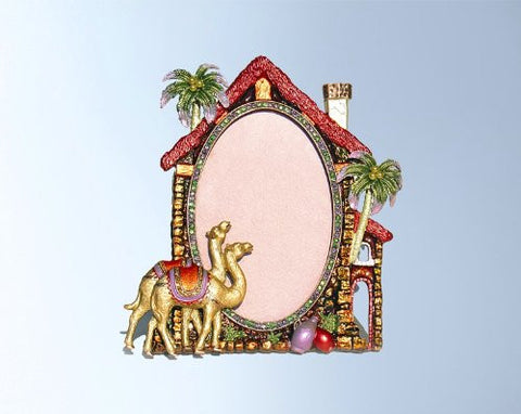 "2 Desert Camels Oasis Palm Trees 4"" x 6"" Frame Set with Swarovski Crystals"