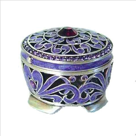 Purple Byzantine Persian Box Swarovski Crystals Jewelry, Trinket or Pill Box