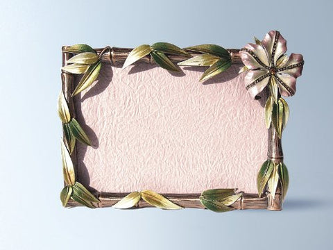 Pink Hibiscus Flowers Bamboo Swarovski Crystals Photo Frame 4 x 6 inch Pictur...