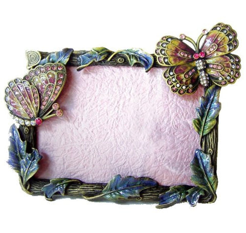 "7"" 3D, Swarovski Crystals! Butterflies Picture Frame for a 3 x 5"" photo, Purple Yellow Blue Green"