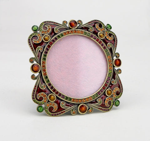 Ornate Square Picture Frame Red Yellow Swarovski Crystals Round for a 2.5 inch photo