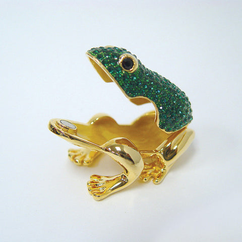 Green Toad Box Swarovski Crystals Jewelry, Trinket, Pill Box Trinket Box