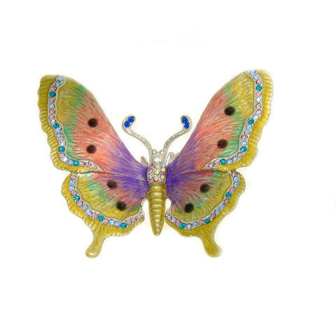 Butterfly Decoration Figurine Swarovski Crystals Purple Pink Enameled Figurine