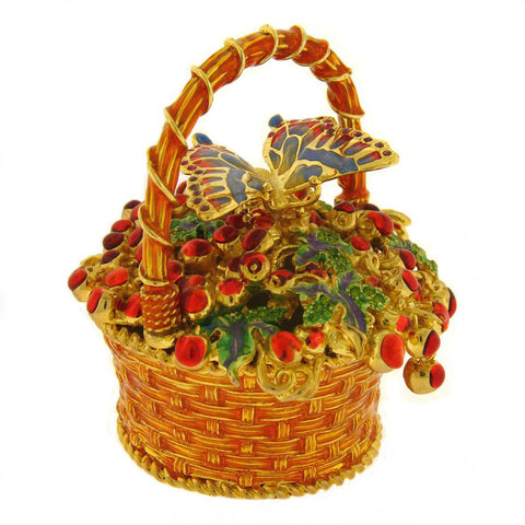 Golden  Basket Box Swarovski Crystals Jewelry, Trinket or Pill Box Figurine 3.5""