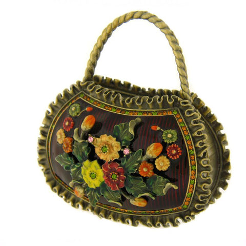 Brown Flowered Purse Figurine Box
