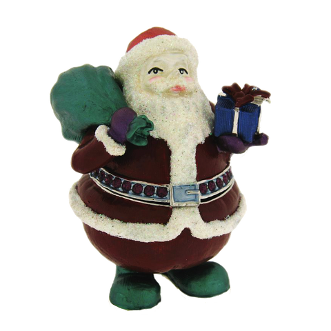 Santa Claus Christmas Box Swarovski Crystals Jewelry Trinket Keepsake Figurine