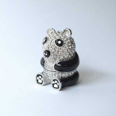 Sitting Panda Bear Box Swarovski Crystals Miniature Black Jewelry or Pill Box Figurine