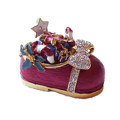 Pink Red Baby Shoe Box Christmas Swarovski Crystals Trinket Pill Box Figurine
