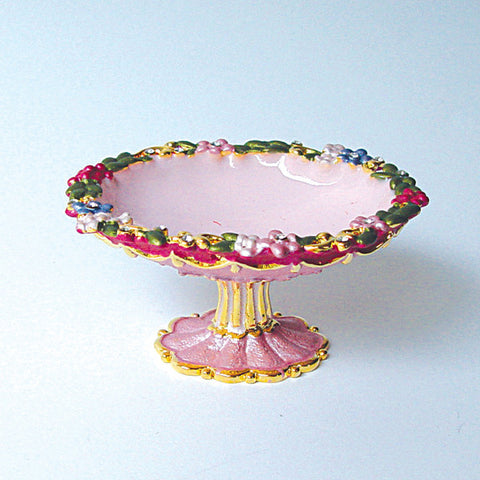 Swarovski Crystals Flowered Grecian Ring Dish Pink Floral