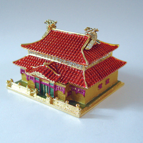 Chinese Palace Box Swarovski Crystals Jewelry, Keepsake or Pill Box Figurine