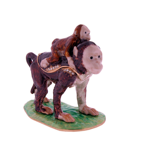 Mommy and Baby Monkey Figurine Box set with Swarovski Crystals!