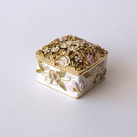 Square Filigree Yellow Rose Box Swarovski Crystals Trinket, Pill Box Figurine