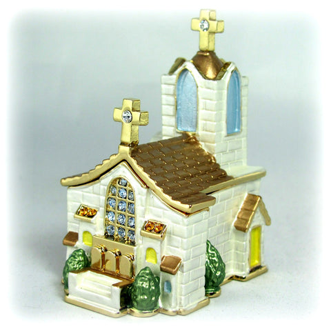 Christian Church with Steeple Figurine Gift Box set with Swarovski Crystals Limited Edition